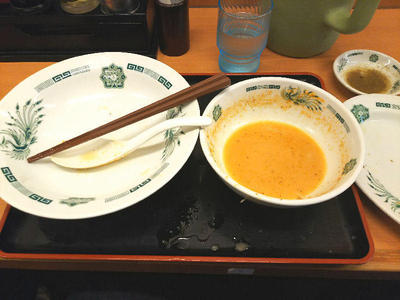 エビ辛とんこつつけ麺 完食