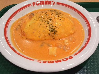 シーフードのトマトクリームオムライス