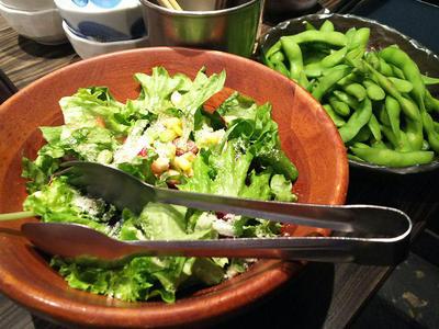 サラダと枝豆