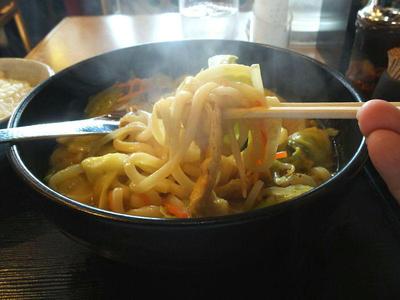 野菜たっぷりちゃんぽんカレーうどん 麺上げ