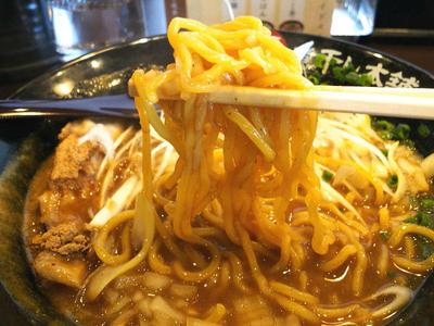 カレー煮干しラーメン 麺上げ