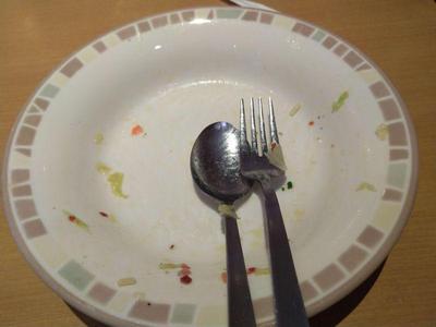 キャベツのペペロンチーノ 完食