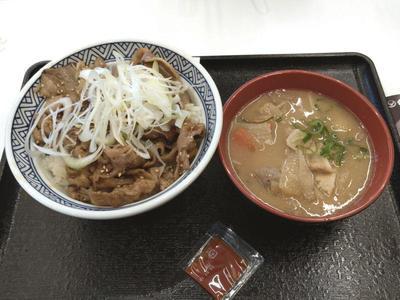 牛カルビ丼と豚汁