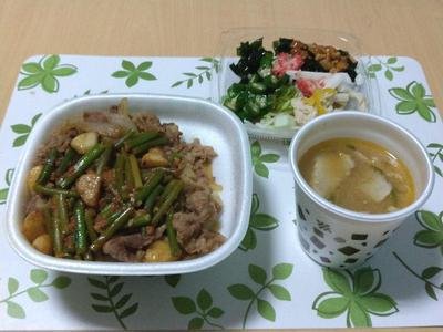 Wニンニク牛丼と豚汁
