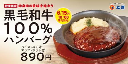 松屋 黒毛和牛100%ハンバーグ定食