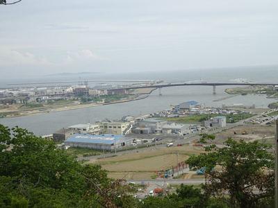 日和見公園からの石巻 旧北上川