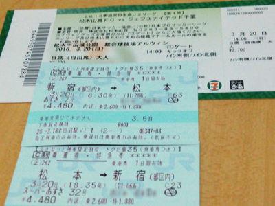 松本行き切符