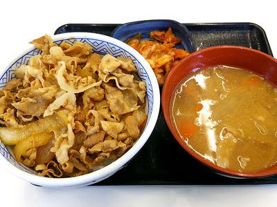 キムチ豚丼と豚汁