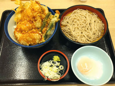 柚子こしょう鶏天丼+小そば