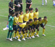 試合前の集合