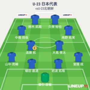 U-23日本vsU-23北朝鮮 先発メンバー
