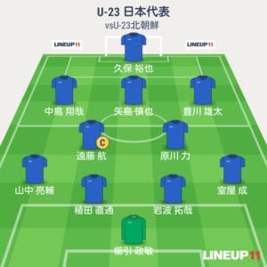 U-23日本vsU-23北朝鮮 試合終了時メンバー