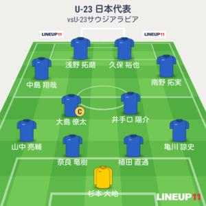 U-23日本vsU-23サウジアラビア 終了時メンバー