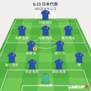 U-23日本vsU-23メキシコ 先発メンバー