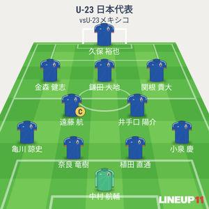 U-23日本vsU-23メキシコ 試合終了時メンバー
