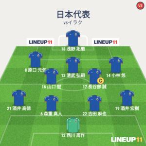 日本代表vsイラク代表 試合終了時メンバー