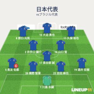 日本vsブラジル 先発メンバー